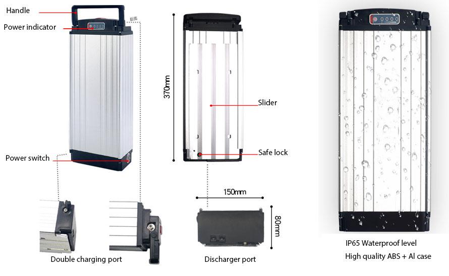 Rear Rack Electric Bike Battery