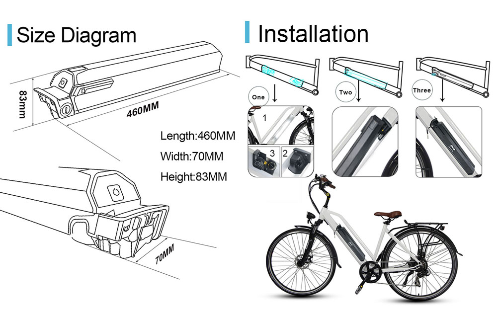 Dorado hidden Down Tube type Electric Bike Battery installation process