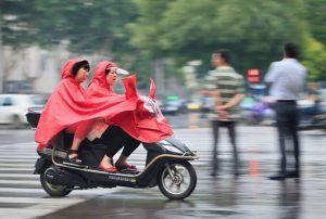 Scooter in rain